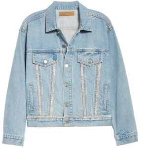 GRLFRND: Crystal Trim Trucker Denim Jacket